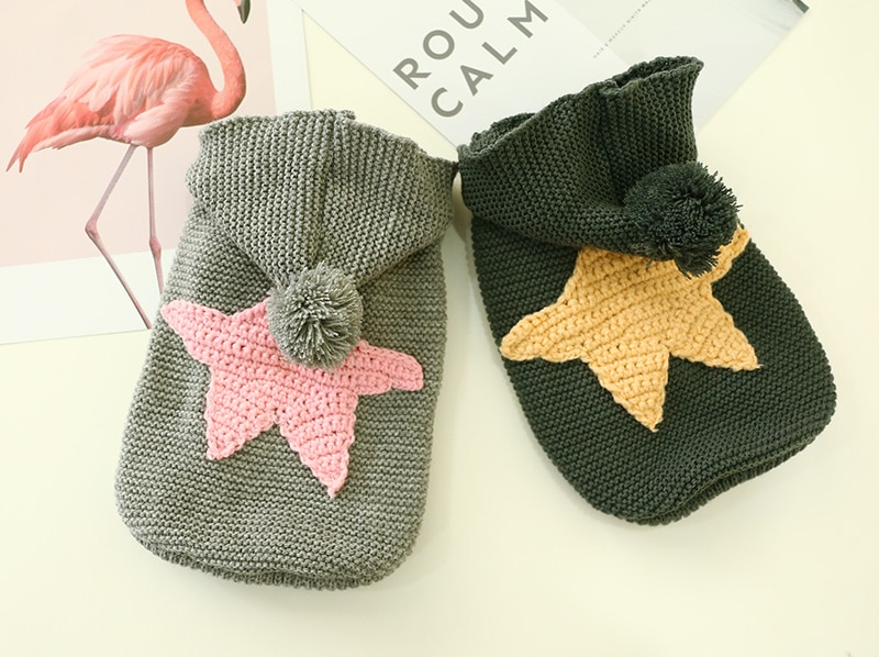 Dog Knitted Star Patterned Cotton Sweater